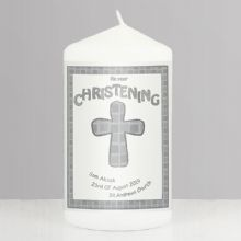 Personalised Grey Christening Candle P040975